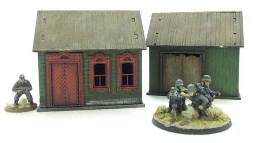 Russian Farmhouse and Barn (Brown)